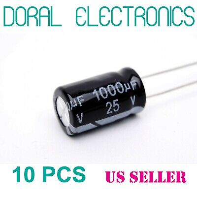 10 Pcs 1000 Uf 1000mfd 25v 105c Electrolytic Capacitor 10x17mm 1000uf Mdf 105c