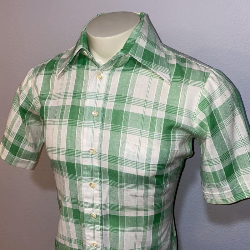 Vtg 50s 60s ARROW Shirt Green Plaid Rockabilly Mid Century Rat Pack MENS MEDIUM