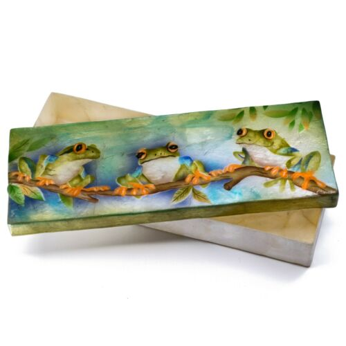 "Hand Painted Air Brushed Frogs Capiz Oyster Shell Jewelry Trinket Box 9"" Long"