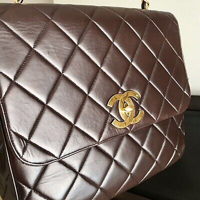 Chanel Vintage Square CC Flap Bag Quilted Brown Lambskin Single Flap Jumbo Quilted Lambskin Single Flap