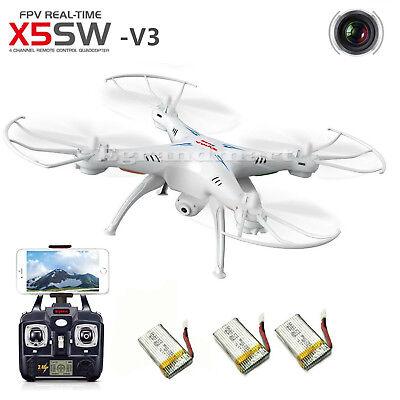 3 Batteries Syma X5SW Explorers Wifi FPV 2.4G RC Quadcopter Drone HD Camera