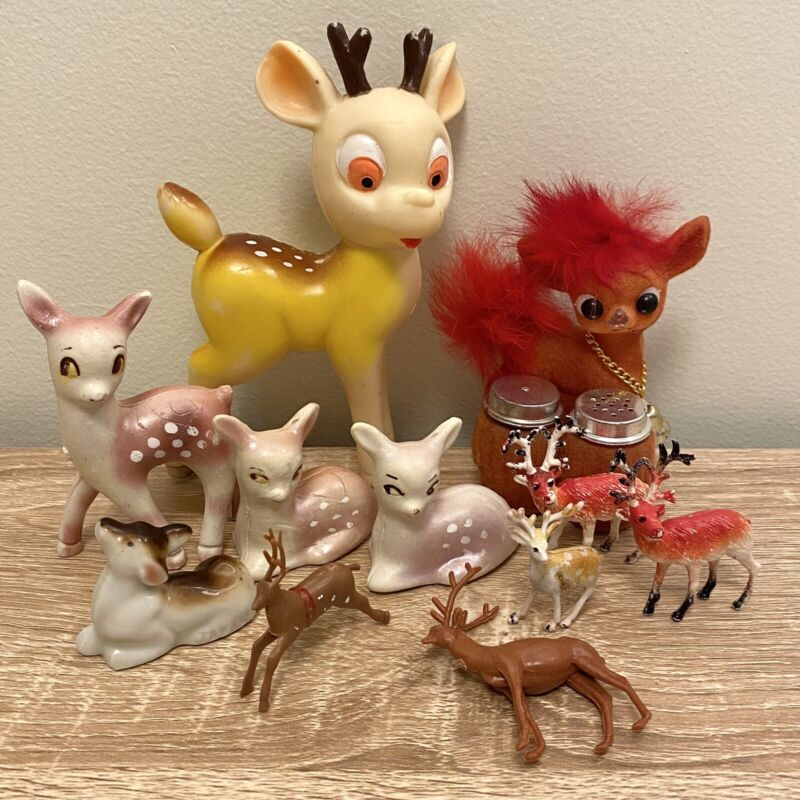 Vintage Reindeer Figurines Kitsch Decor • Plastic / Ceramic Japan Hong Kong