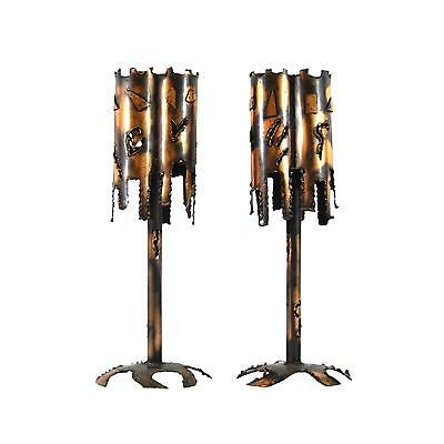 - 2 Mid Century Modern Brutalist Torch-Cut Metal/Copper Table Lamps by Tom Greene?