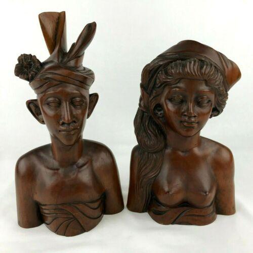 Vintage Bali Carved Wood Sculptures Statues Bust Man Woman Wedding Set