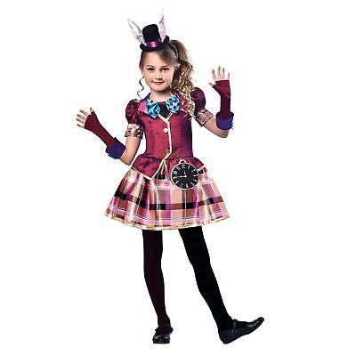 Mädchen Buch Alice Weiß Hase Miss Mad Hatter Bunny Ohren Kostüm - Buch Kostüm Mädchen