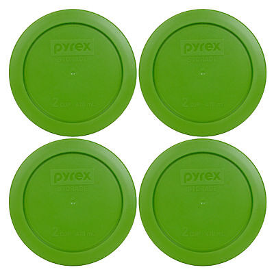 "Pyrex 7200-PC 2 Cup 5"" Storage Lid Cover 4 Pack Lawn Green for Glass Bowl New"