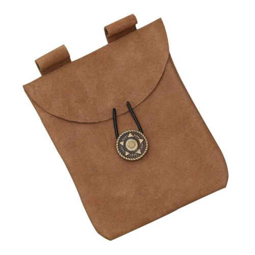 Medieval Renaissance Functional Leather Camel Brown Suede Accessory Pouch Bag