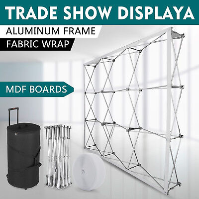 8 Pop-up Tension Fabric Trade Show Display Booth Frame Stand Pop Up Free Case