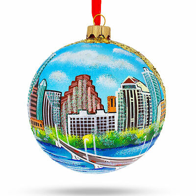 Austin, Texas Glass Ball Christmas Ornament 4 Inches ()