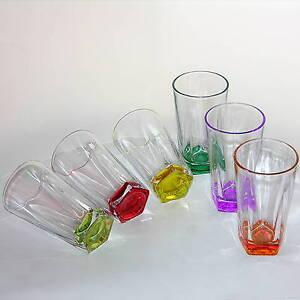 6 colorido gafas vaso de agua bebida vasos jugo cristal for Vasos cristal colores