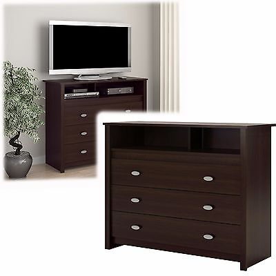 كومودينو جديد 3 Drawer Dresser Chest TV Stand Media Storage Modern Bedroom Furniture Espresso
