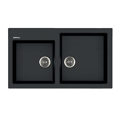 Lavello da cucina Apell Pietra Plus effetto granito nero 86 x 50 cm doppia vasca