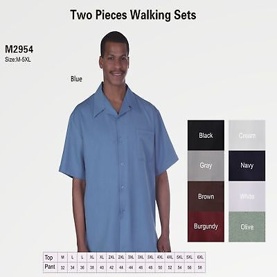 New Men's 2pc Walking Suit Short Sleeve Casual Shirt & Pants Set Solid (Suit Short Sleeves)