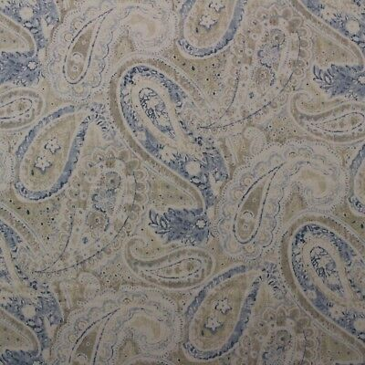 Ballard Designs Gabrielle Chambray Blue Floral Linen Fabric By The Yard 54  W