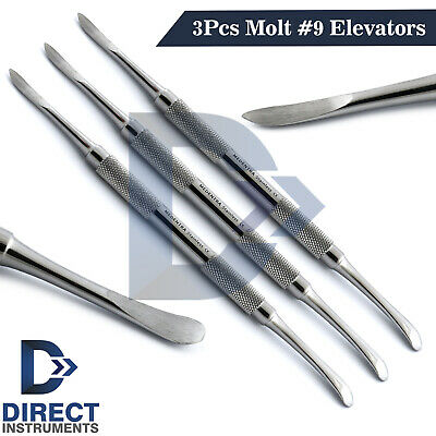 3pcs Dental Molt 9 Periosteal Elevator Surgical Reflecting Mucoperiosteum Tools