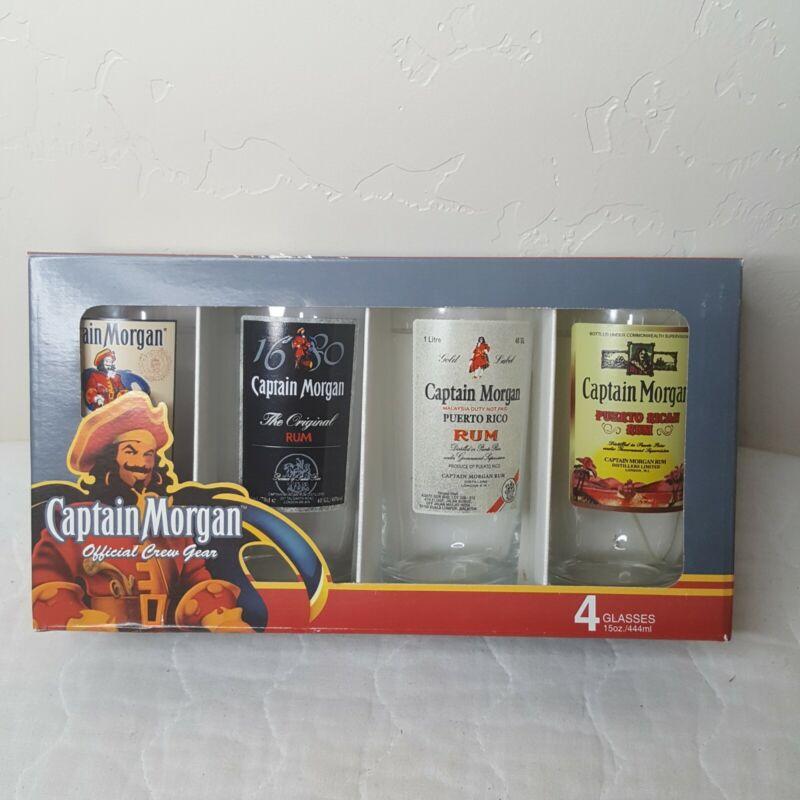 Captain Morgan Set of 4 15oz Official Crew Gear Rum Glasses Tiki Cocktails NIB