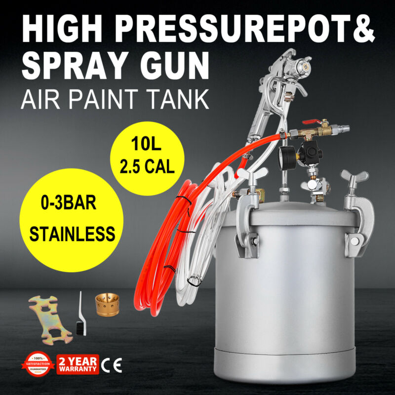 2.5 Gallon High Pressure Pot Paint Sprayer Commercial Automotive Industrial