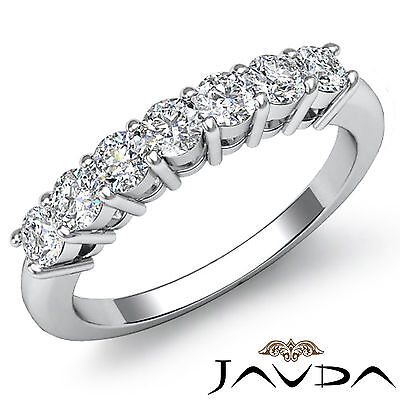 7 Stones Round Cut Diamond Womens Half Wedding Band Ring 14k White Gold 0.70Ct