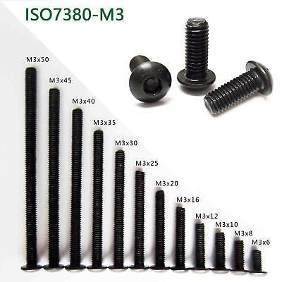 25/50/100x M3 Black Alloy Steel Allen Hex Socket Button Head Screw Bolt ISO7380
