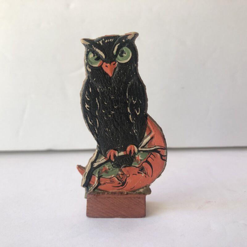 Antique HALLOWEEN Skittles OWL Moon German Die Cut Embossed Vintage Game Piece