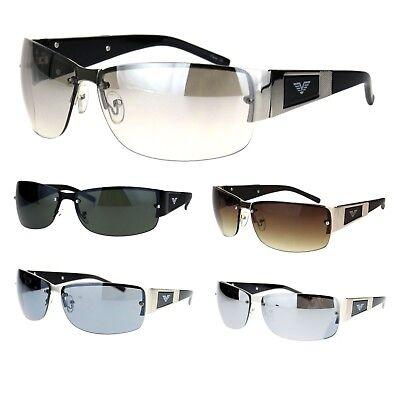 Mens Metal Frame Rimless Rectangular European Designer Fashion Warp (European Sunglasses)