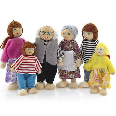 6x Wood Fabric Person Doll Family Flexible Dolls Dollhouse Family Dolls Set
