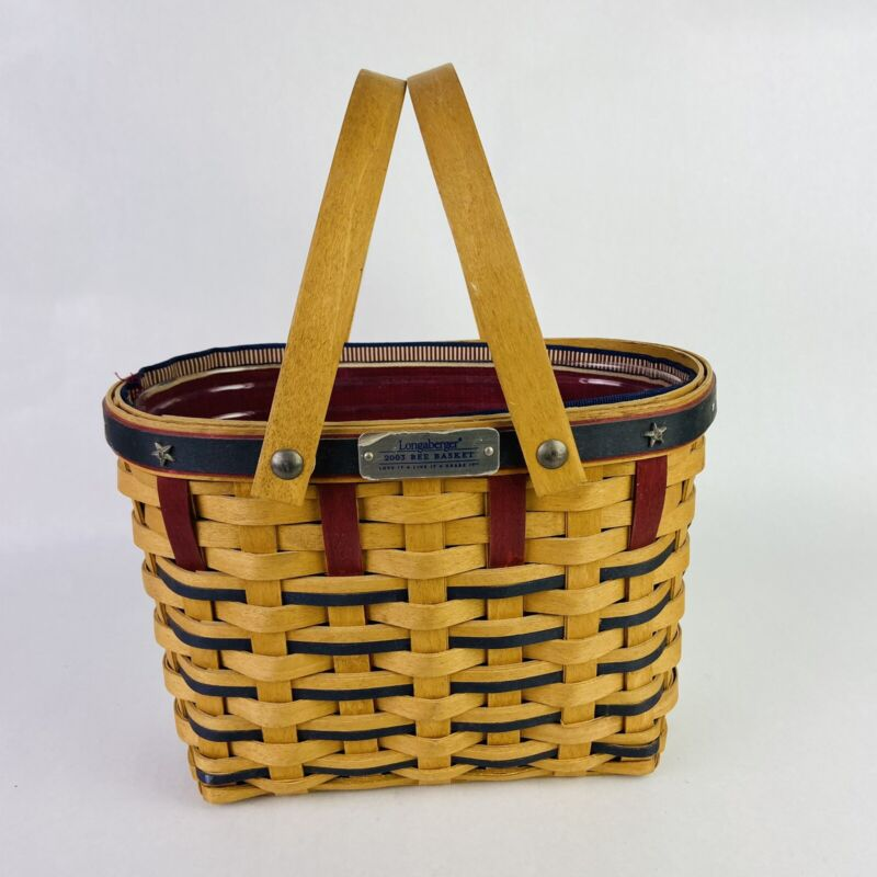 Longaberger 2003 Bee Basket With Paprika Red Liner & Protector Double Handles