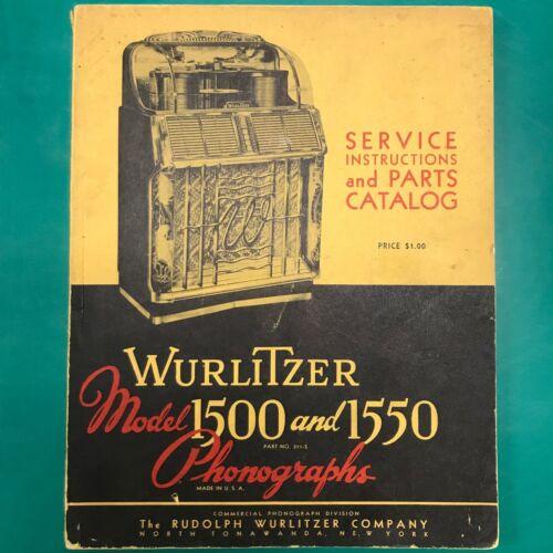ORIGINAL Wurlitzer 1500 1550 JUKEBOX SERVICE MANUAL / PARTS CATALOG ~ Circa 1953