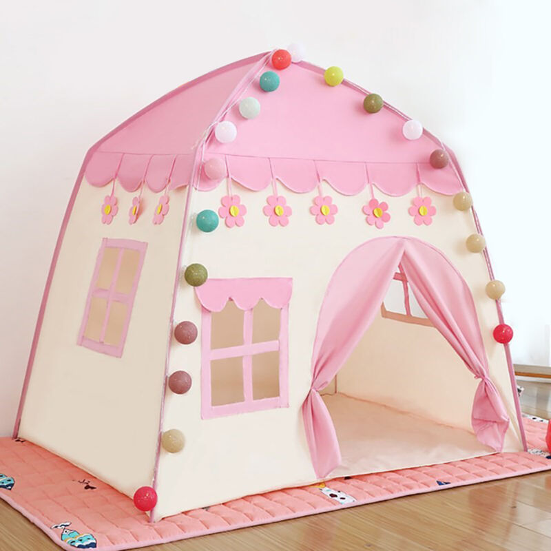 Princess Tent Pink Oxford Fabric Castle Tent for Girls Children with Carry Bag