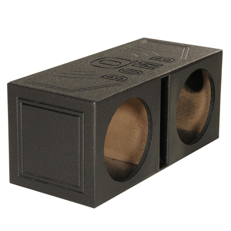 QPower QBOMB8V Dual 8 Inch Vented Port Subwoofer Sub Box with Bedliner Spray