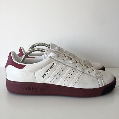 Adidas Forest Hills White Burgundy Purple Maroon Size 9 Trainers