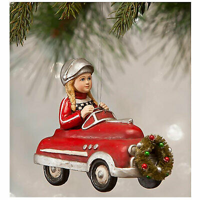 Bethany Lowe Casey In Race Car Red Hot Rod Christmas Retro Vntg Decor Ornament