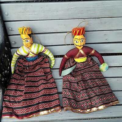 VINTAGE PAIR OF INDIAN DOLLS WITH WOODEN CARVED HEAD