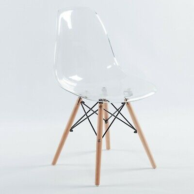 CLEAR GHOST TRANSPARENT MODERN PLASTIC EIFFEL INSPIRED DINING CHAIR WITH WOOD