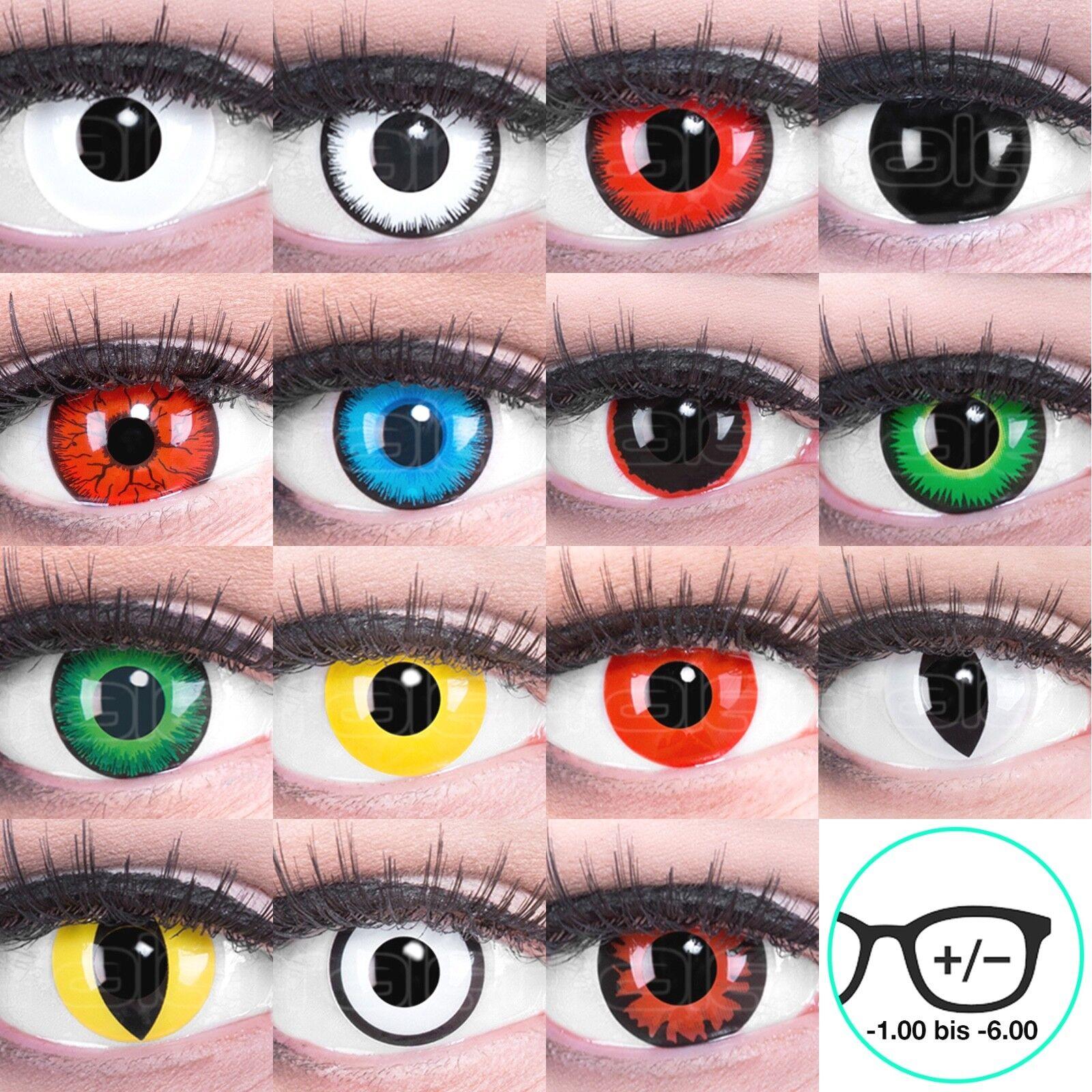Farbige Kontaktlinsen MIT Stärke Crazy Halloween Vampir Zombie Rot Weiß Blau