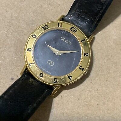 Vintage Gucci 18k Gold Plated Mens Womens Black Dial Swiss Quartz Watch leather