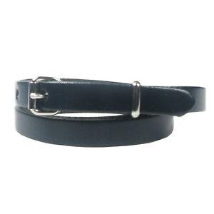 New Genuine Skinny Thin Fashion Waist Ladies Womens Leather Belt Made in the UK