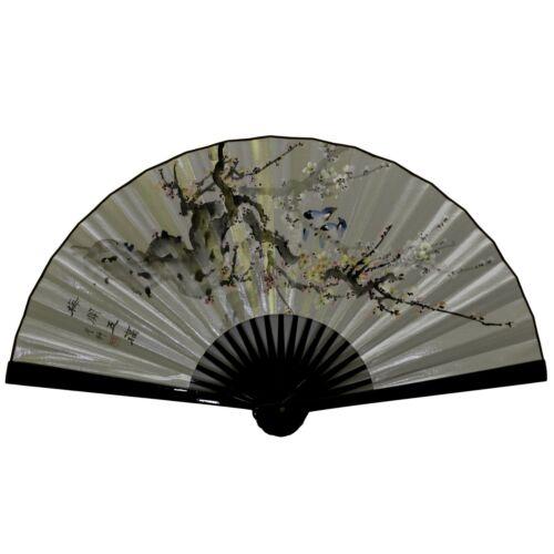 Vintage Large Jumbo Chinese Folding Plum Blossom Silver Silk Fan Home Art Decor