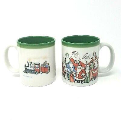 Otagiri Set of 2 Santa mugs embossed santas polar express train Japan Christmas