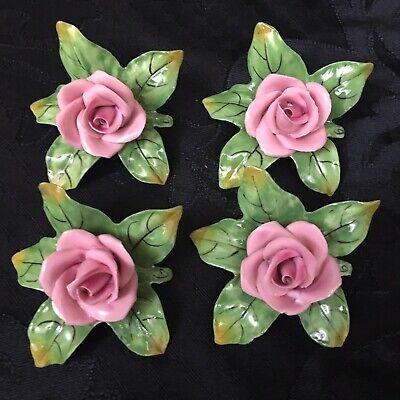 (LOT of 4) Vintage Dresden Porcelain Ceramic Pink Rose Flower Place Card Holders ()