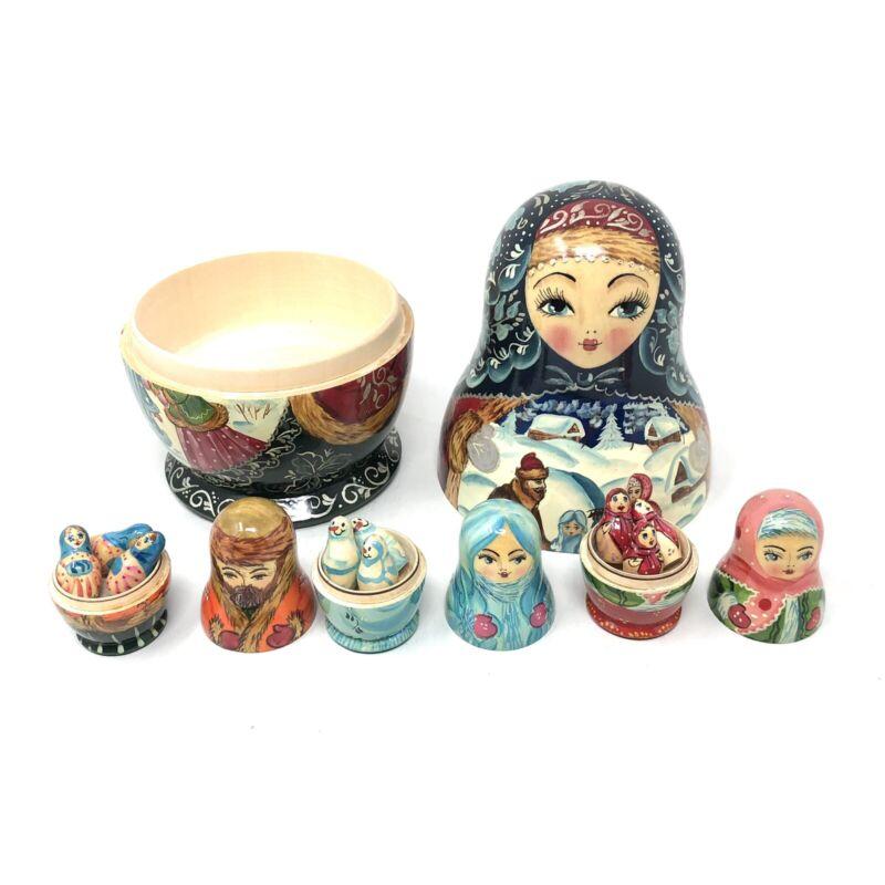 Matryoshka Russian Nesting Dolls Winter Snow Scene Unusual 13 piece Set Signed
