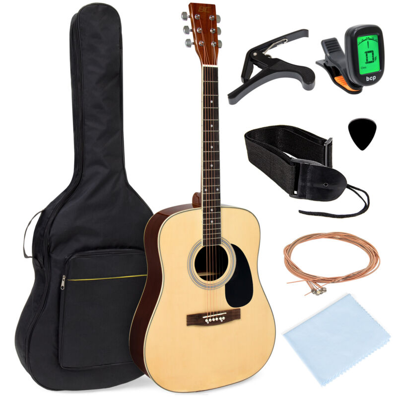BCP 41in Acoustic Guitar Starter Kit w/ Digital Tuner, Padded Case, Picks, Strap