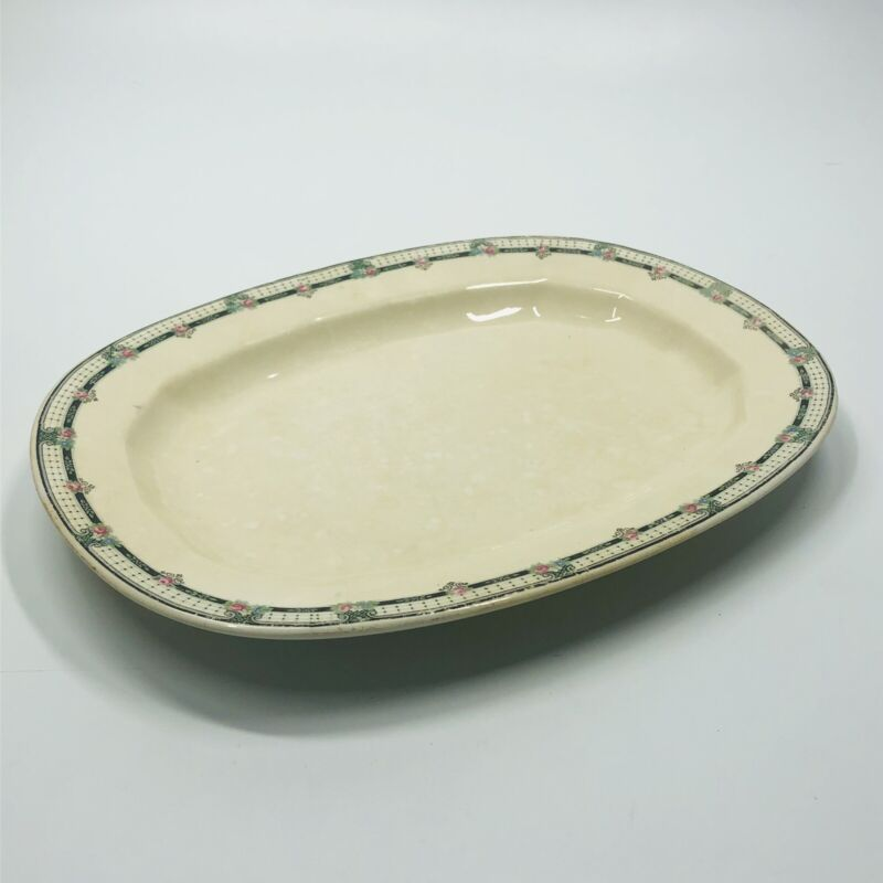 """Vintage 1930s EDWIN KNOWLES Fine China 11 1/4"""" X 8.5"""" Serving Platter 24-1-6 (A)"""
