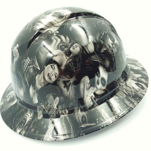 FULL BRIM Hard Hat custom hydro dipped , NEW TATTOO BABES HI DEF NEW 1