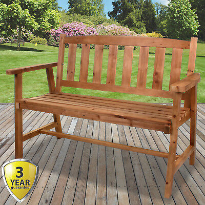 2/3 Seater Wooden Bench Outdoor Garden Patio Seating Large Classic Furniture NEW