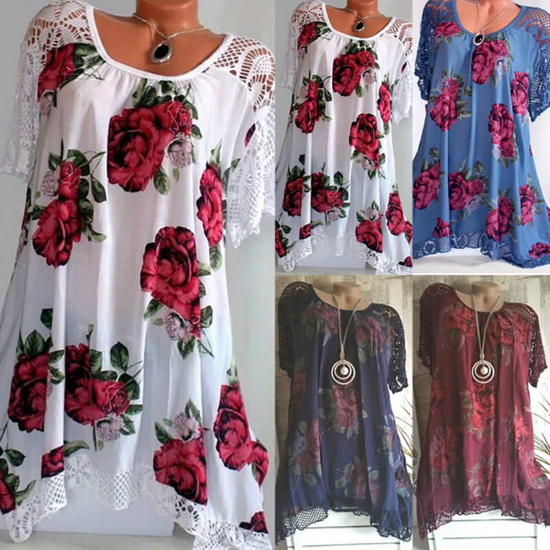 Damen Blumen Spitze Kurzarm Blusenkleid Longshirt Minikleid Tunika Longtop 46 48