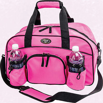 """Womans Ladies 18"""" Sport Duffle Gym Bag Pink Tote Carry On Overnight Yoga Workout"""