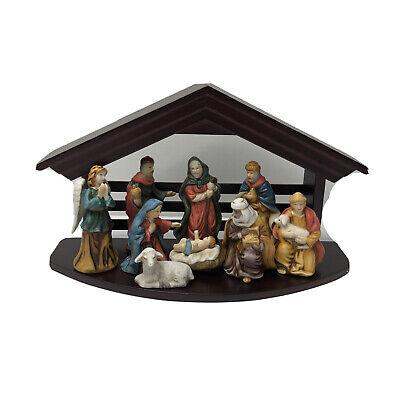 Vintage Bon-Ton Painted Porcelain 10 Piece Nativity Set w/Wood Stable 10.5 X 6.5