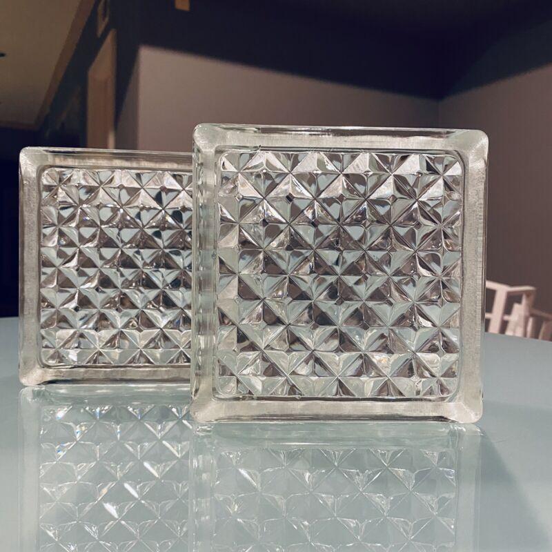 Pittsburgh Corning Glass Blocks, DELPHI Diamond Pattern, NOS, USA MADE, 6x6x3
