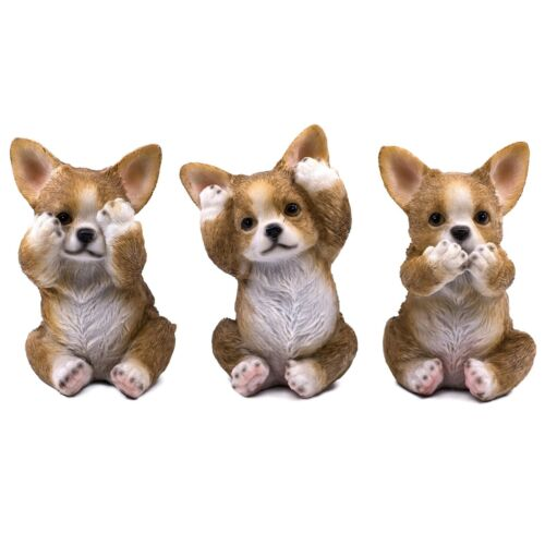 """See, Hear, Speak No Evil Chihuahua Dog Figurines 4.5""""H Statues Resin New"""